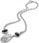 pur10020 - Pure Earth Necklace - Black Rutile Quartz / Silver Obsidian
