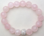 edel10013 - Rose Quartz Charm Bracelet with Zirconia