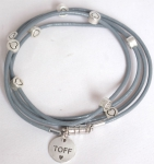 toff100004 - Toff leather Wrap Bracelets - Heart Charm